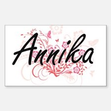 Annika Artistic Name Design with Flowers Decal