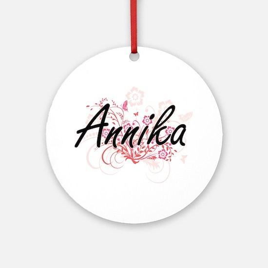 Annika Artistic Name Design with Fl Round Ornament