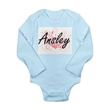 Ansley Artistic Name Design with Flowers Body Suit