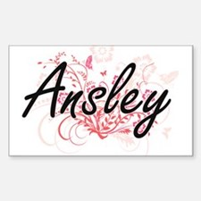 Ansley Artistic Name Design with Flowers Decal