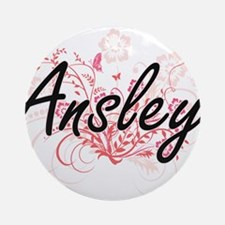Ansley Artistic Name Design with Fl Round Ornament