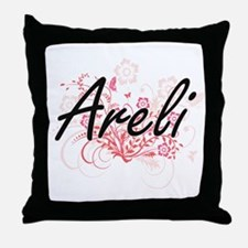 Areli Artistic Name Design with Flowe Throw Pillow