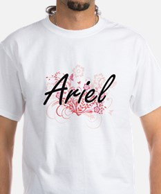 Ariel Artistic Name Design with Flowers T-Shirt