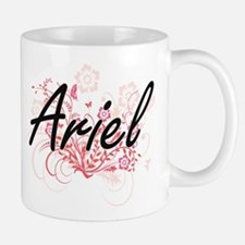 Ariel Artistic Name Design with Flowers Mugs