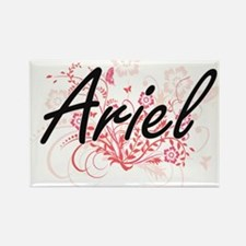 Ariel Artistic Name Design with Flowers Magnets
