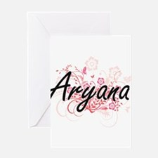 Aryana Artistic Name Design with Fl Greeting Cards