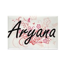 Aryana Artistic Name Design with Flowers Magnets