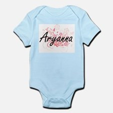 Aryanna Artistic Name Design with Flower Body Suit