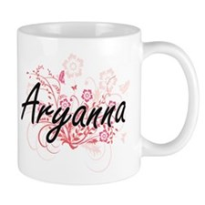 Aryanna Artistic Name Design with Flowers Mugs