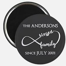 Grey And White Custom Family Name Magnet