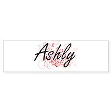 Ashly Artistic Name Design with Flo Bumper Bumper Sticker