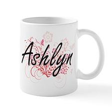 Ashlyn Artistic Name Design with Flowers Mugs