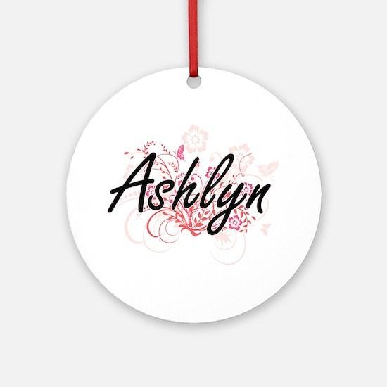 Ashlyn Artistic Name Design with Fl Round Ornament