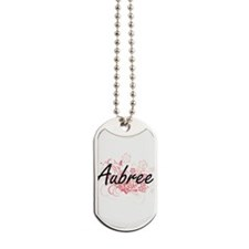 Aubree Artistic Name Design with Flowers Dog Tags