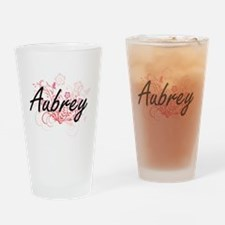 Aubrey Artistic Name Design with Fl Drinking Glass