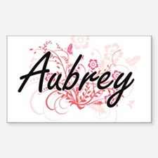 Aubrey Artistic Name Design with Flowers Decal