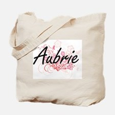 Aubrie Artistic Name Design with Flowers Tote Bag