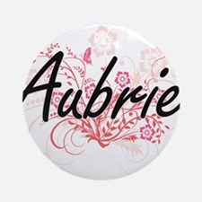 Aubrie Artistic Name Design with Fl Round Ornament