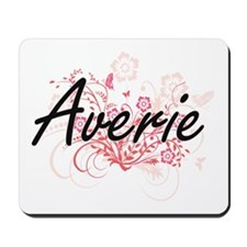 Averie Artistic Name Design with Flowers Mousepad
