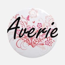 Averie Artistic Name Design with Fl Round Ornament