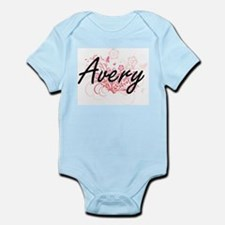 Avery Artistic Name Design with Flowers Body Suit