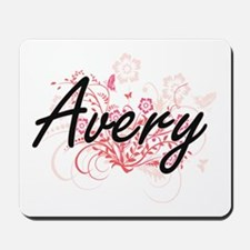 Avery Artistic Name Design with Flowers Mousepad