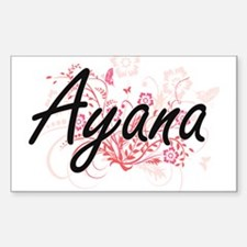 Ayana Artistic Name Design with Flowers Decal
