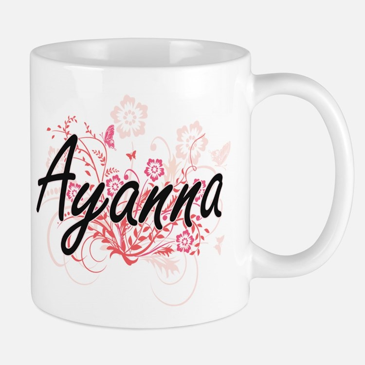 Ayanna Artistic Name Design with Flowers Mugs