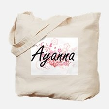 Ayanna Artistic Name Design with Flowers Tote Bag