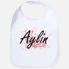 Aylin Artistic Name Design with Flowers Bib