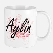 Aylin Artistic Name Design with Flowers Mugs