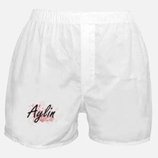 Aylin Artistic Name Design with Flowe Boxer Shorts