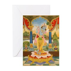Krishna On Lotus Blossom Greeting Cards (Pk of 10)