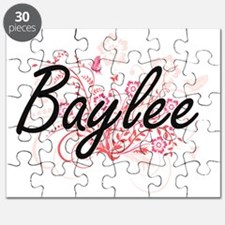 Baylee Artistic Name Design with Flowers Puzzle