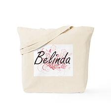 Belinda Artistic Name Design with Flowers Tote Bag