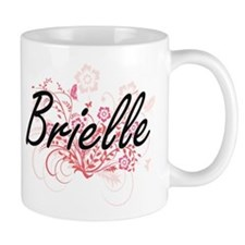 Brielle Artistic Name Design with Flowers Mugs