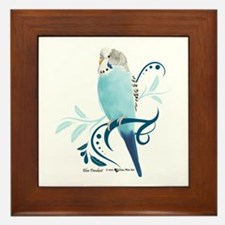 Blue Parakeet Framed Tile