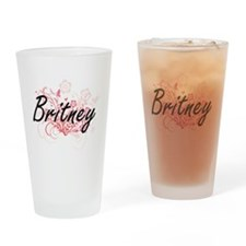 Britney Artistic Name Design with F Drinking Glass