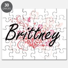 Brittney Artistic Name Design with Flowers Puzzle