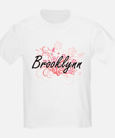Brooklynn Artistic Name Design with Flower T-Shirt