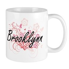 Brooklynn Artistic Name Design with Flowers Mugs