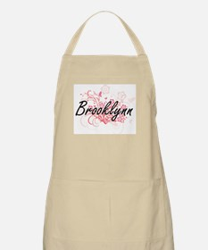 Brooklynn Artistic Name Design with Flowers Apron