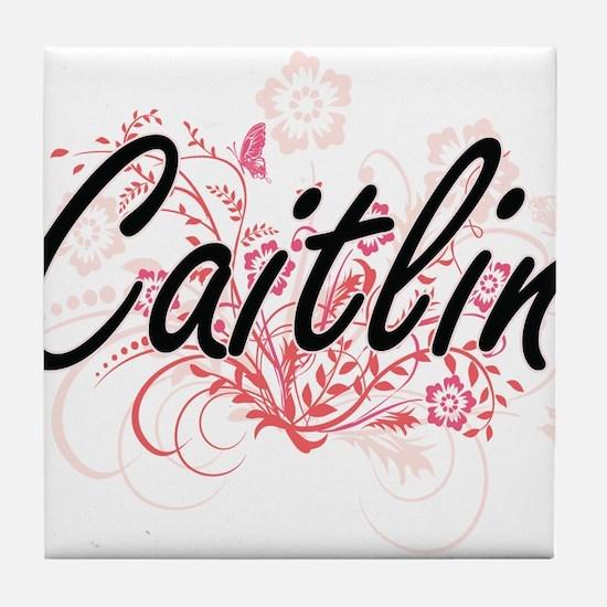 Caitlin Artistic Name Design with Flo Tile Coaster