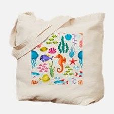 Colorful sea life and animals cute illust Tote Bag