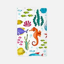 Colorful sea life and animals cute illust Area Rug