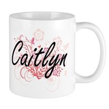 Caitlyn Artistic Name Design with Flowers Mugs