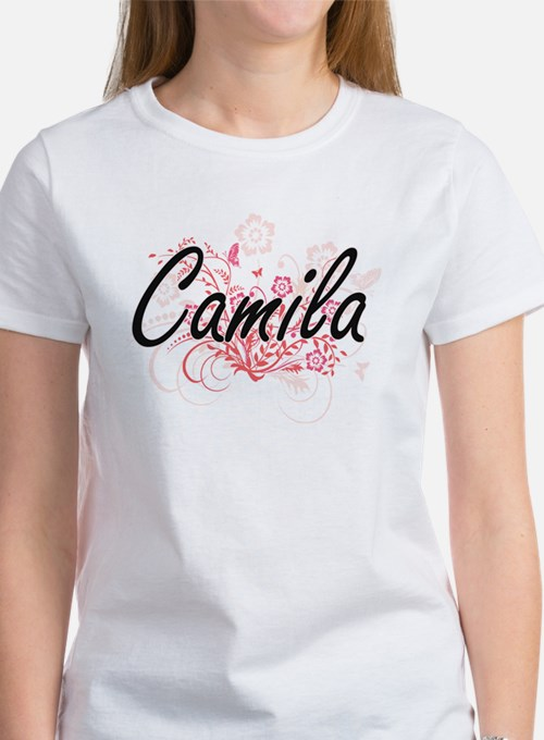 Camila Artistic Name Design with Flowers T-Shirt