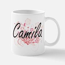 Camila Artistic Name Design with Flowers Mugs
