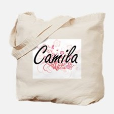 Camila Artistic Name Design with Flowers Tote Bag