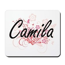 Camila Artistic Name Design with Flowers Mousepad
